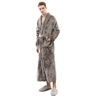 YCQUE Mens Plush Thicken Lengthened Long Sleeved Shawl Bathrobe Home Clothes Robe Coat