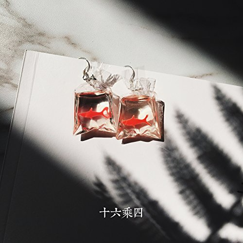 Sixteen-by-four 925 sterling silver ear hook Creative Fun Funny resin Goldfish ear clip earrings imitation bag (Goldfish In Resin)