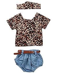 SUPEYA Toddler Baby Girls Leopard Print Tops+Denim Shorts+Headband 3Pcs Set