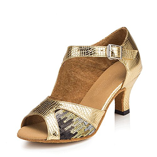YFF Geschenke Frauen Dance Shoes Ballroom Latin Dance Tango Tanz Shoes 6CM,Golden,40