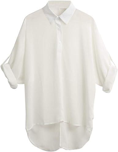 Auspiciousi Blusa para Mujer Ropa de Oficina Camisa de Gasa Cuello Largo y doblado de Manga Larga Tops Ocasionales asimétricos