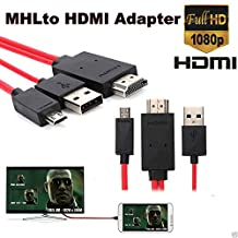 trustous Micro USB to HDMI Cable - MHL 11 Pin Micro USB to HDMI Adapter Cable 6.5 feet 1080P HDTV with Integrated USB Charging Cable for Samsung Galaxy S5, S4, S3, Note 3, Note 2, Galaxy Tab 3 8.0, Tab 3 10.1, Tab Pro 8.4, Tab Pro 10.1, Galaxy Note 8, Note Pro 12.2, Tab S 8.4, Tab S 10.5, Etc (NOT Work with Tab 3 7.0, Note 10.1, Note 3 N9008V, Tab 4 series)