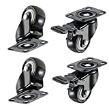 1.5'' Swivel Caster Wheels with Safety Dual Locking and Polyvinyl Chloride No Noise Wheels,Heavy Duty - 330 Lbs Total Capacity for Set of 4 (2 with Brakes)