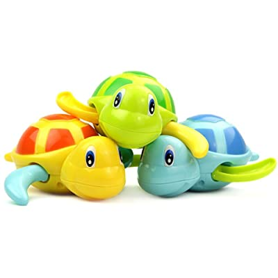 Set of 3 Float Pool Wind Up Baby Bath Toys Swimming Tub Bathtub Cute Swimming Turtle Toys for Boys Girls Blue Orange Green : Baby