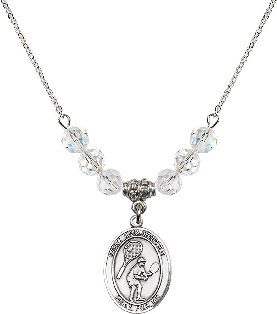 18-Inch Rhodium Plated Necklace with 6mm Crystal Birthstone Beads and Sterling Silver Saint Christopher//Tennis Charm.