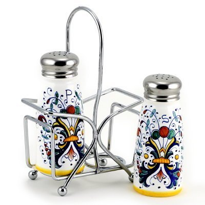 Ricco Collection - Ricco DERUTA: Salt and Pepper Shaker Set w/Stailess Steel Top [#9500-RIC]