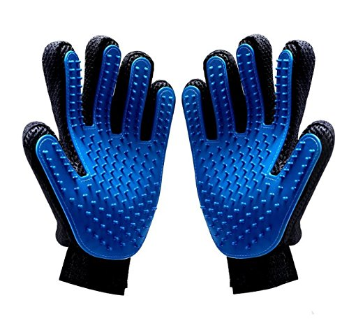 SunPet4u Pet Grooming Gloves For Dogs Cats And Horses-One Pair Amazing Five Finger Glove-Hair Remover-Gentle Massage Tool-Best Washing Mitten-Brush Gently-Comfortable Groom Ninja Shedding
