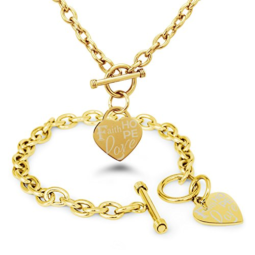 Toggle Engraved (Gold Plated Stainless Steel Faith Love Hope Engraved Heart Tag Charm, Bracelet Necklace Set)