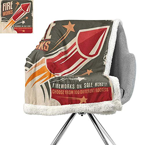 Vintage Decor Collection Throw Blanket,Retro Fireworks in Vintage Paper with Stars Rockets Western Halloween Illustration,Gray Red,for Bed,Couch,Sofa,Chair,W59xL47 Inch
