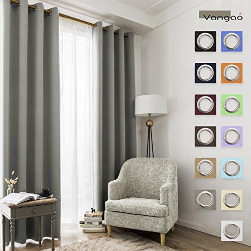 Vangao Light Blocking Grey Blackout Curtains Bedroom Darkeni
