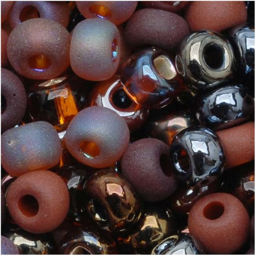 Czech Seed Beads 6/0 ''Chocolate Mud Pie'' Mix Brown (1 Ounce)