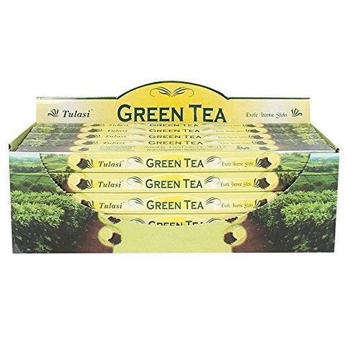(Tulasi Green Tea Incense Sticks (Box Of 25 Packs) (One Size) (Green))