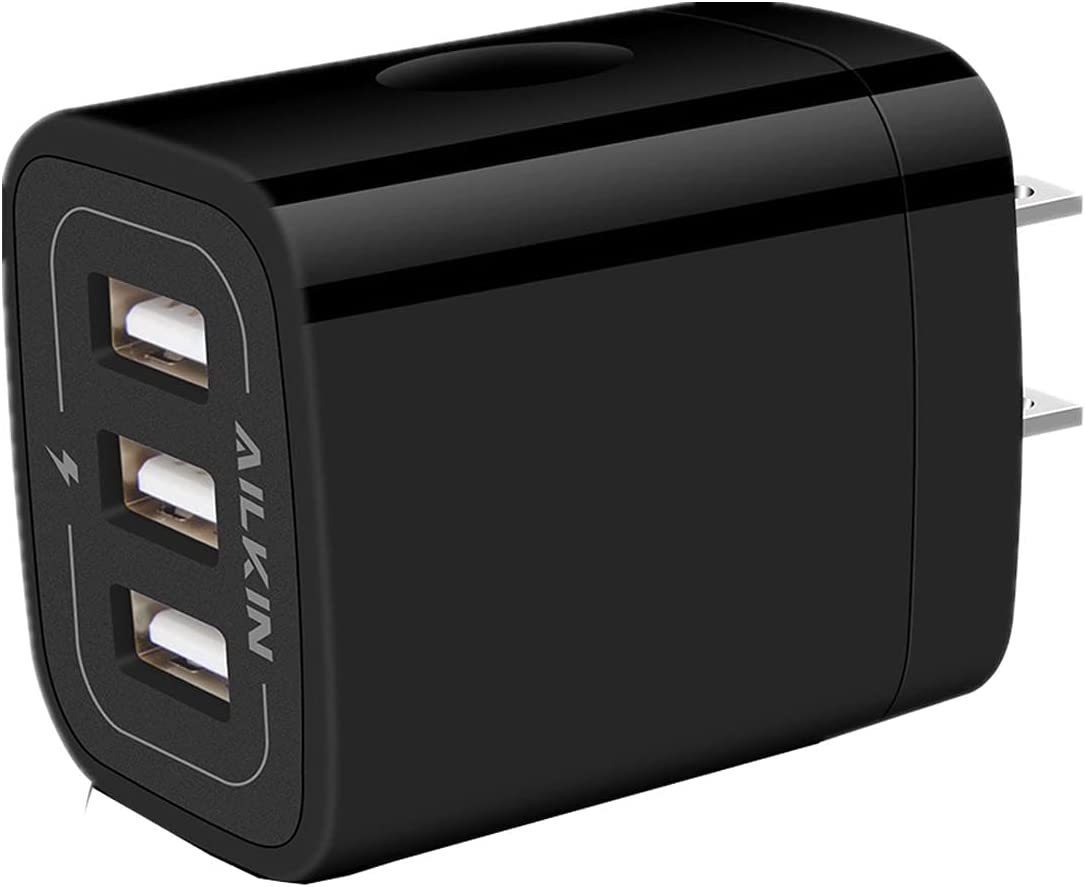Wall Charger Plug, USB Charger Cube, Ailkin 3.1A 3-Muti Port USB Adapter Power Plug Charging Station Box Black Base Replacement for iPhone 11 Pro Max/X/8, Samsung Phones and More USB Charging Block