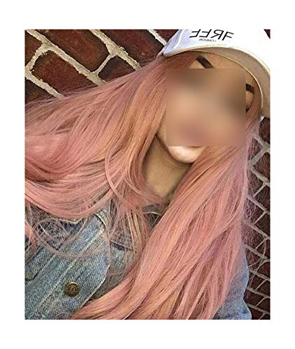 (Fantasy Synthetic Lace Front Wigs Rose Gold Beauty Long Wavy Peach Pink High Temperature Fiber Lace Front Wigs For Women,22inches,150% )