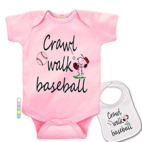 babybytes Crawl Walk Baseball - Sports Custom Print Baby Bodysuit Onesie & - Print Baseball Bodysuit