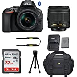 Nikon D5600 DSLR Camera with Nikon AF-P DX 18-55mm f/3.5-5.6G VR Lens + 32GB Memory Card + Deluxe Camera Carrying Bag + Tripod (Certified Refurbished)