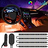 One-Line Interior Car Lights, Minger RGB Multicolor Music Car LED Strip Light, Waterproof Underdash Lighting Kits with Sound Active Function and Simple Control, 4pcs 48 LED, 12V Car Charger Included