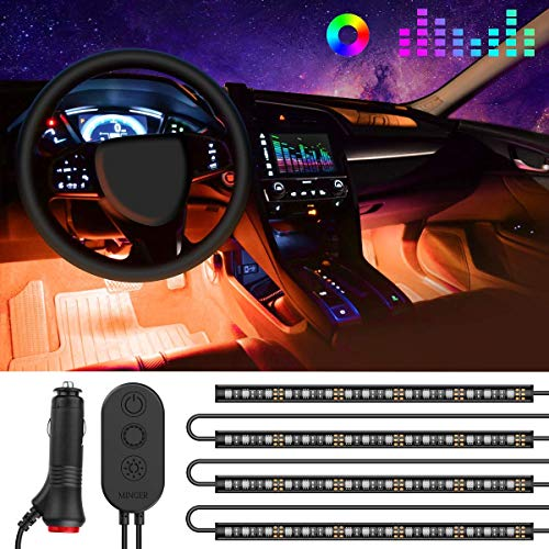 One-Line Interior Car Lights, Minger RGB Multicolor Music Car LED Strip Light, Waterproof Underdash Lighting Kits with Sound Active Function and Simple Control, 4pcs 48 LED, 12V Car Charger Included ()