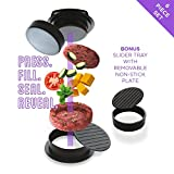 Deluxe Stuffed Burger Press with 60 FREE Burger Papers & EXCLUSIVE Recipe eBook, All in One Burger Maker, Slider Press & Hamburger Patty Press, BBQ Grilling & Gourmet Kitchen Tool – By Master Yeti