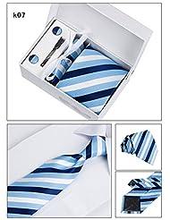 FashionMTL Wide Woven Necktie Box Set (Tie, Cufflink, Tie Clip, Hankie)