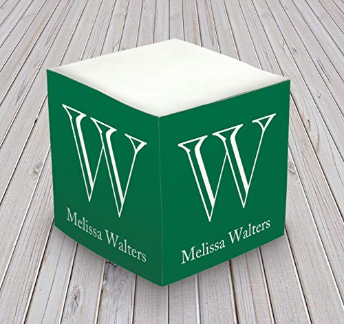 Personalized Cube Memo - Personalized Self Stick Memo Cube - Prominent Initial - 2807_47