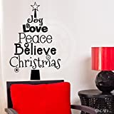 Christmas Tree Words (Joy, Love, Peace, Believe, Christmas) wall saying vinyl lettering home decor decal stickers quotes