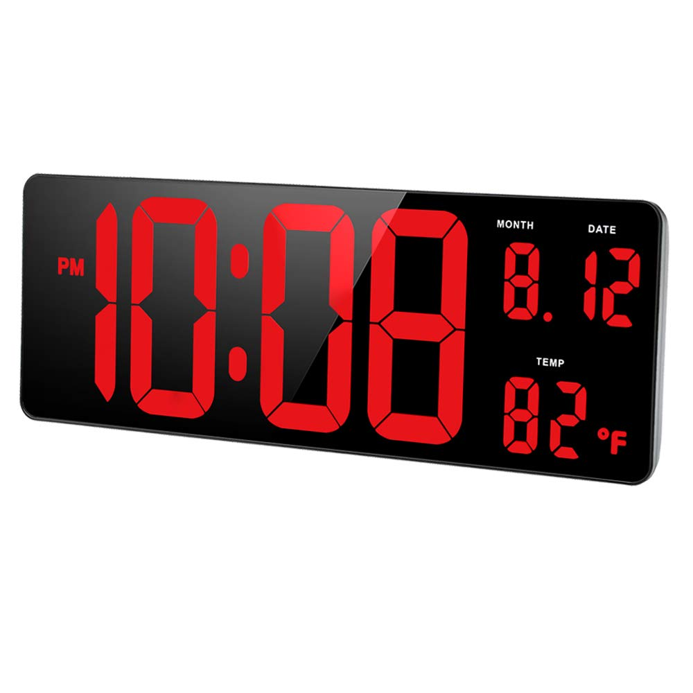 "DreamSky 14.5"" Extra Large LED Digital Clock with Date and Indoor Temperature Display. Oversize Desk Office Wall Cock with Fold Out Stand, Large Number Display. Auto DST Time Change."