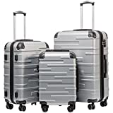 Coolife Luggage Expandable Suitcase 3 Piece Set with TSA Lock Spinner 20in24in28in (sliver)