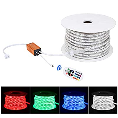 Brillihood Flexible LED RGB Rope Light Strip, Multi Color Changing SMD 5050 LEDs, 110-120V AC, Dimmable, Waterproof, Indoor/Outdoor Rope Lighting + Remote Controller