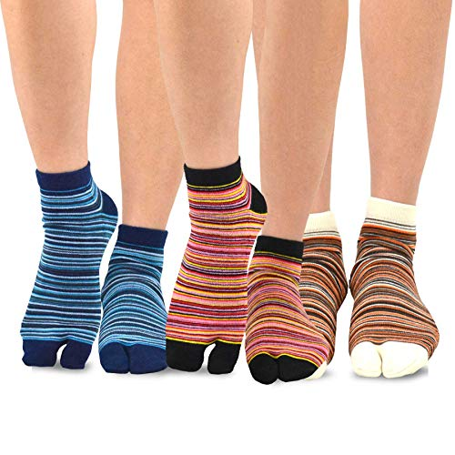 Split Toe Socks - TeeHee Flip Flop Big Toe Cotton Socks 3-Pairs Pack (Mini Stripe)