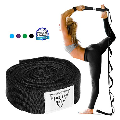 Forbidden Road Stretch Strap with Multi- Loop Exercise Strap for Physical Therapy Yoga Dance Pilates Greater Flexibility and Fitness Workout Deepen Green/Black / Blue/Purple