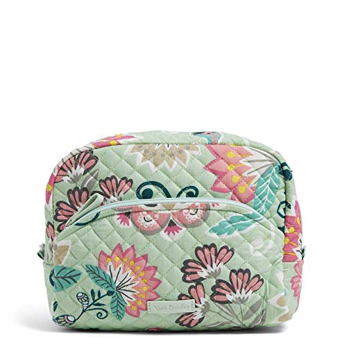Vera Bradley Iconic Large Cosmetic, Signature Cotton, Mint Flowers ()