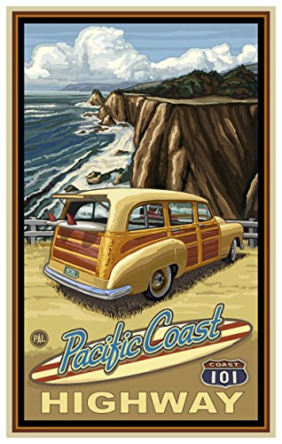 Pacific Coast Highway Woody Travel Art Print Poster by Paul A. Lanquist (12