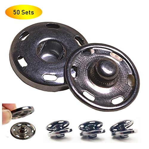 50 Sets Sew-on Snap Buttons, Metal Snaps Fasteners Press Studs Buttons for Sewing Clothing, 3/4
