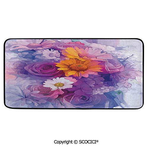 Daisy Rose Bouquet - Print Door Mat, Indoor Floor Area Carpet Compatible Bedroom,Living Room,Children, Playroom, Bathroom,Watercolor Flower,Bouquet of Rose Daisy and Flowers Impressionist,39