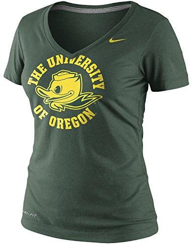 Nike Women's Oregon Ducks College School Stamp Legend Dri-Fit Vneck T-Shirt (XL, Green) ()