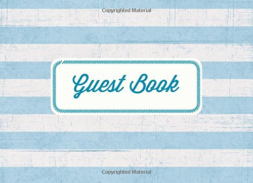 Guest Book: Vacation Home Guest Book: Blue and White Stipes