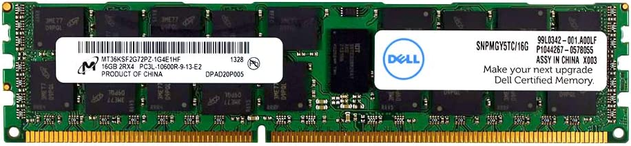 DELL 16GB Certified Memory for Select Dell System - 2Rx4 1333MHz for Workstation R5500, T3600, T5600, T7600