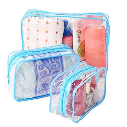 Team-Management(TM) 3Pcs Waterproof Transparentr Hand Pouch Bag With Zipper For Cosmetic Wash Versatile Storage