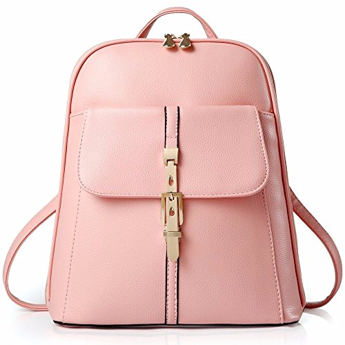 Gxinyanlong Backpack Shoulder Bag Women Leather, Blue Sky Pink