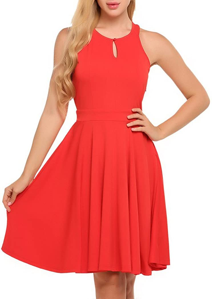 Memoriesed Women Dress O-Neck Sleeveless Keyhole Solid Cocktail Party Pleated Dress Red XL