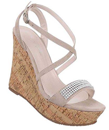 Damen Sandaletten Schuhe Keil Wedges Pumps Schwarz Beige