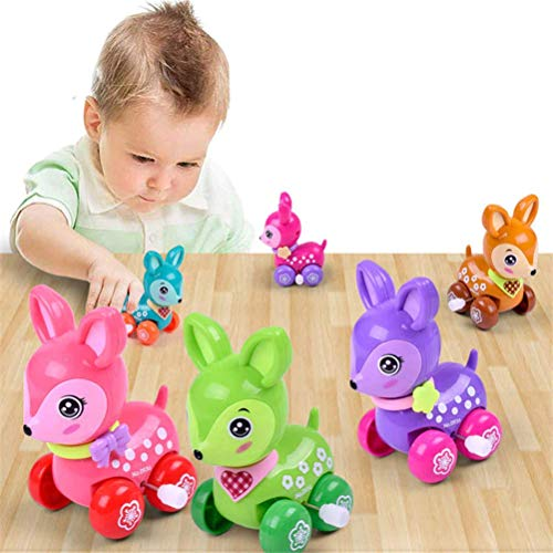 - Clockwork Spring Toy Mini Funny Colorful Toy Baby Kid Dear Style Wind Up Running Gift Random Color for newborn baby