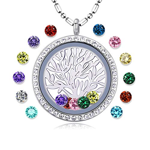 Family Tree of Life Floating Living Memory Locket Pendant Necklace with Birthstone, All Charms Included ()