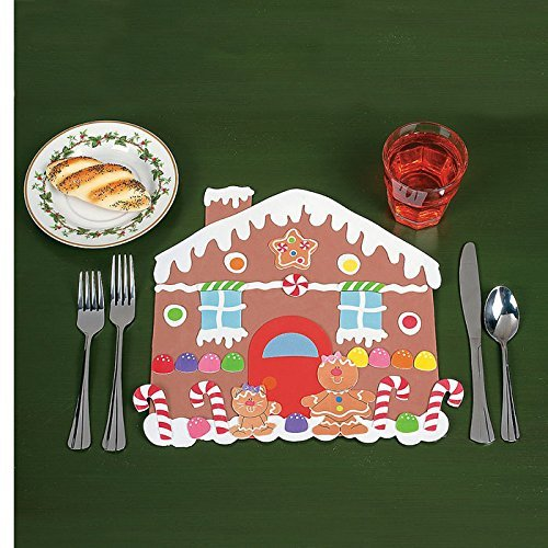 DIY Gingerbread House Placemat Kits (Makes 12) - Party Supplies ()