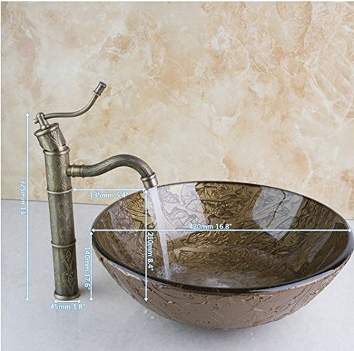 GOWE Painting Bathroom Round Art Washbasin Tempered Glass Vessel Sink With Antique Brass Faucet Set 0