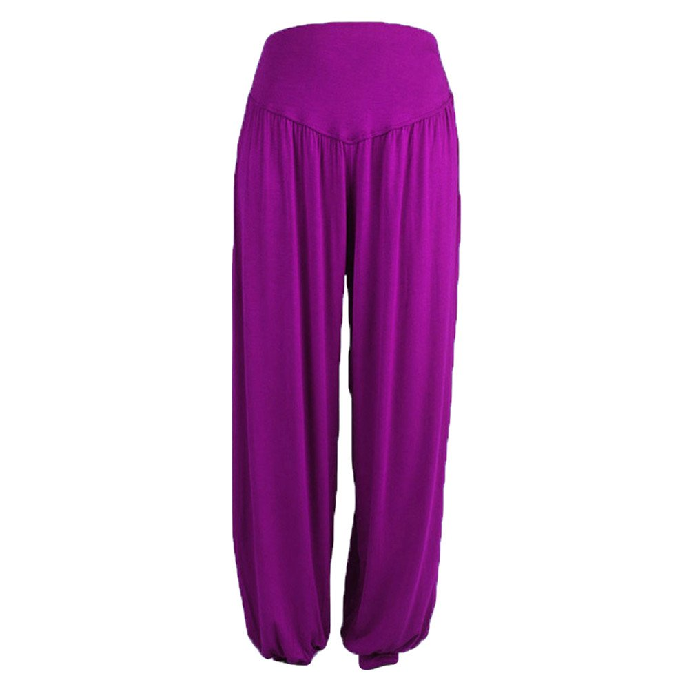 4Clovers Womens Wide Leg Harem Pants Boho Yoga Hippie Pants Smocked Waist Baggy Indian Yoga Trousers
