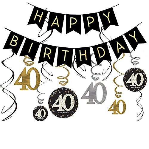 40th Birthday Decorations Kit- Gold Glitter Happy Birthday Banner & Sparkling Celebration 40 Hanging Swirls-40th Anniversary Decorations]()