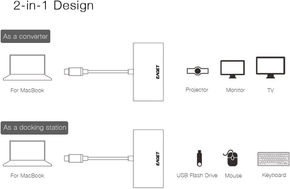 2 x USB3.0 Adapter 30V 3A PD Quick Charging and HDMI 4K UHD Video Output for New MacBook PD 4-in-1 USB-C to HDMI ChromeBook and Matebook etc.