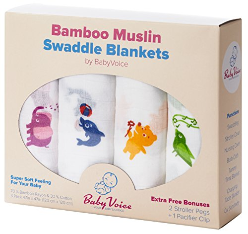 Swaddle Blanket (Premium Bamboo Muslin) 4 Pack + Bonuses: Stroller Clips & Baby Sleeping Guide By BabyVoice (Aussie Flag Dress)
